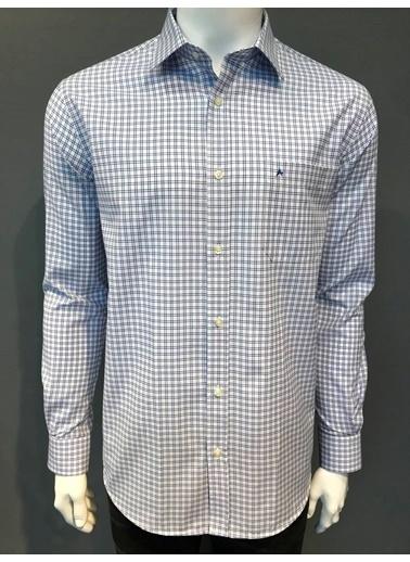 Abbate Kolay Ütülenır Klasık Yaka Ekose Regular Fıt Gömlek Mavi